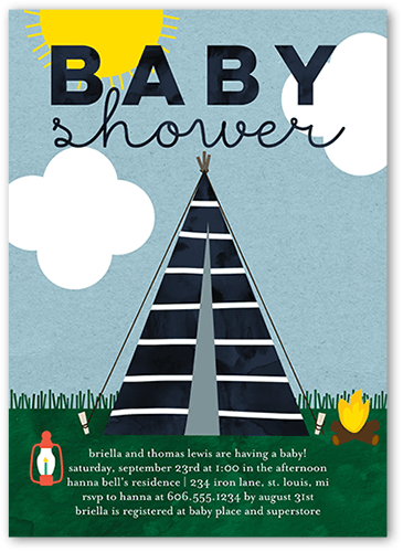 Camper Baby 5x7 Unique Baby Shower Invitations Tiny Prints