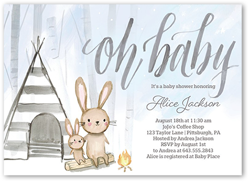 Bunny Foofoo Boy Baby Shower Invitation, Square Corners