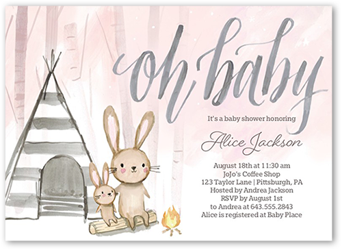 Bunny Foofoo Girl Baby Shower Invitation, Square Corners