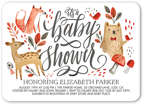 Bambis Buddies Baby Shower Invitation, Rounded Corners