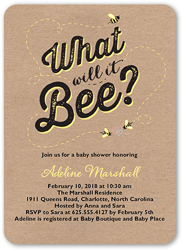 Hive Hype Baby Shower Invitation, Rounded Corners