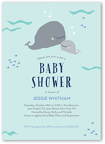 Calf Is A Baby Whale Baby Shower Invitation, Square
