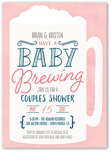 It's Brewing Baby Shower Invitation, Square Corners