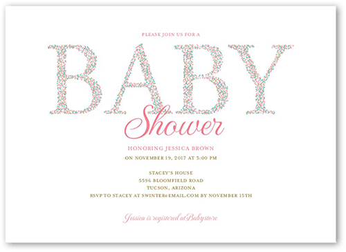 Stippled Shower Girl Baby Shower Invitation, Square Corners
