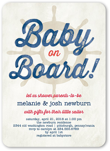 Teeny Sailor Baby Shower Invitation, Rounded Corners