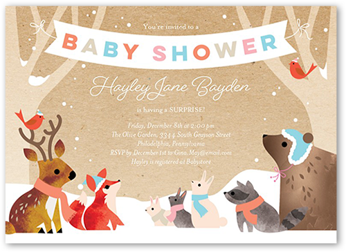 Wintry Critters Baby Shower Invitation, Square Corners