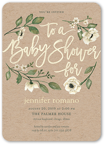 Lovely Blooms Baby Shower Invitation, Rounded Corners