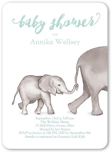 Delicate Elephant Baby Shower Invitation, Rounded Corners