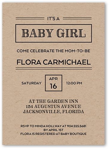 Diagonal Divide Girl Baby Shower Invitation, Square Corners
