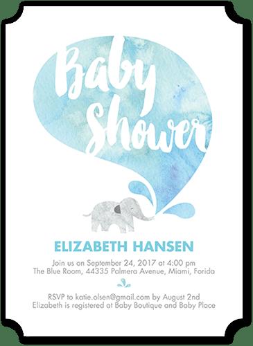Elated Elephant Baby Shower Invitation, Ticket Corners