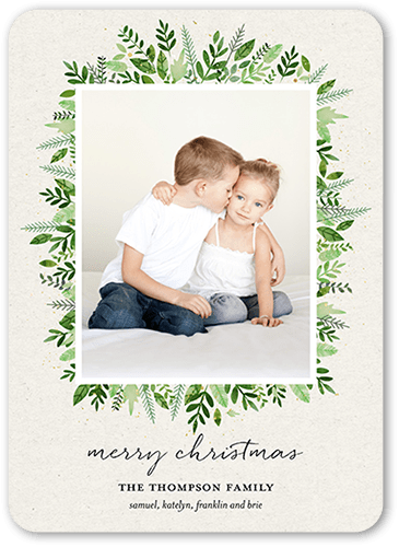 Bouquet Frame Holiday Card, Rounded Corners