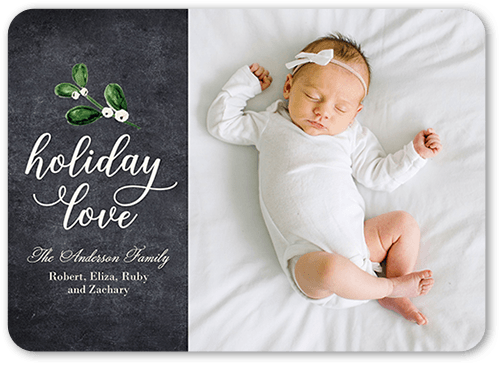 Mistletoe Love Holiday Card, Rounded Corners