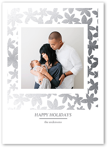 Flashy Flowers Holiday Card, Square Corners
