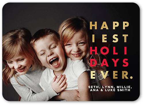 Happiest Ever Holiday Card, Rounded Corners
