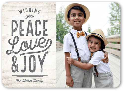 Rustic Peace Holiday Card, Rounded Corners