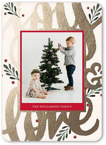 Joy Love Holiday Card, Rounded Corners