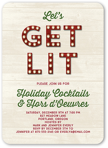 Get Lit Holiday Invitation, Rounded Corners