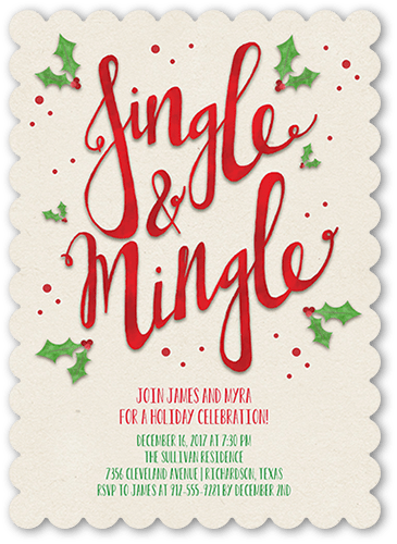 Jingle & Mingle Holiday Invitation, Scallop Corners