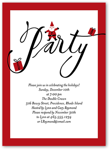 Santa Soiree Holiday Invitation, Square Corners