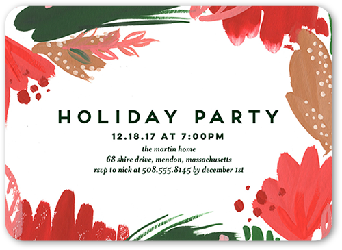 Abstract Floral Holiday Invitation, Rounded Corners
