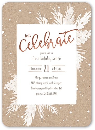 Holly Celebration Holiday Invitation, Rounded Corners