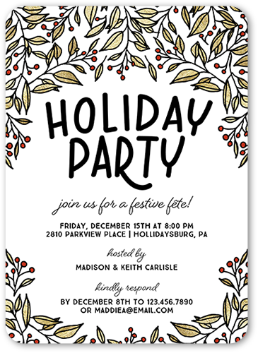 Botanical Festivity Holiday Invitation, Rounded Corners