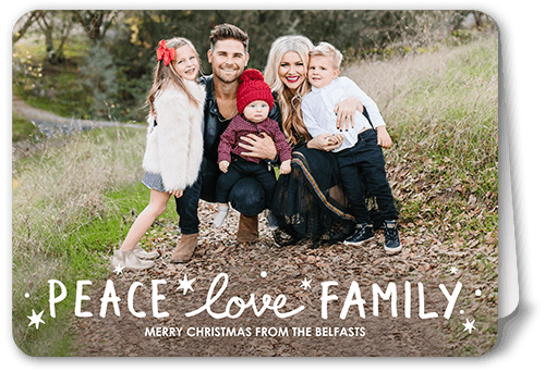 Sparkling Family Holiday Card, Rounded Corners