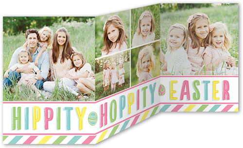 Hippity Hoppity Stripes Easter Card, Square