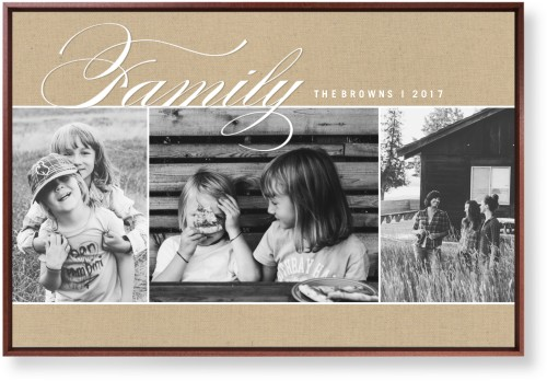 Family Burlap Collage Mounted Wall Art, Single piece, Brown, 24 x 36 inches, Beige