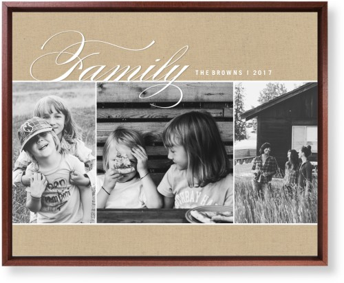 Family Burlap Collage Mounted Wall Art, Single piece, Brown, 16 x 20 inches, Beige