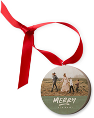 rustic brushed merry wooden ornament