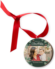 merriest christmas foliage wooden ornament