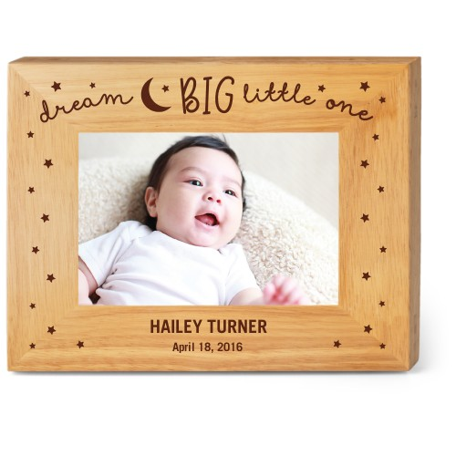 Dream Big Wood Frame, - No photo insert, 9x7 Engraved Wood Frame, White