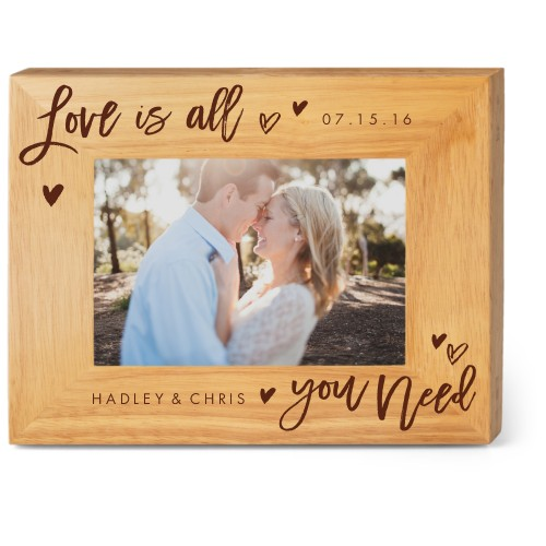 All You Need Wood Frame, - Photo insert, 9x7 Engraved Wood Frame, White
