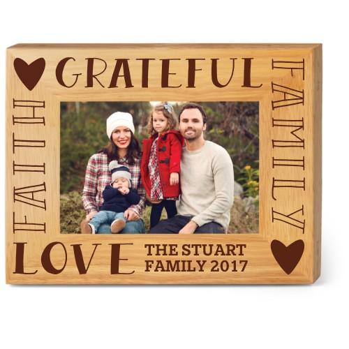 Family Sentiment Wood Frame, - Photo insert, 9x7 Engraved Wood Frame, White