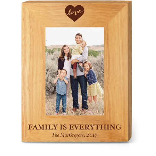 Love Script Wood Frame, - No photo insert, 7x9 Engraved Wood Frame, White