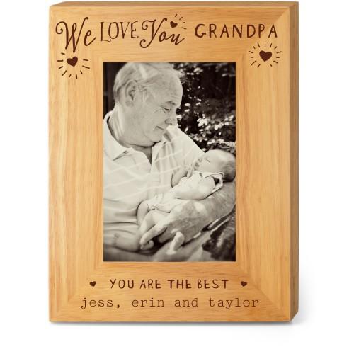 Hearts Full Grandpa Wood Frame, - Photo insert, 7x9 Engraved Wood Frame, White