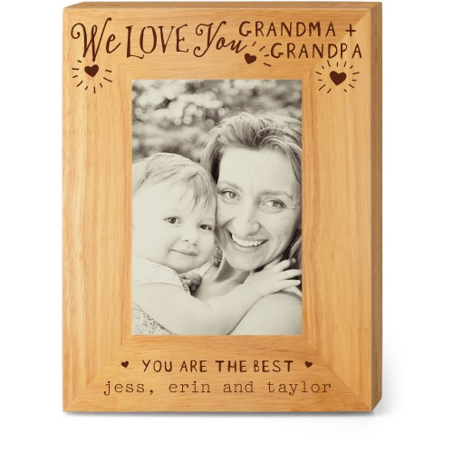Hearts Full Grandparents Wood Frame, - No photo insert, 7x9 Engraved Wood Frame, White