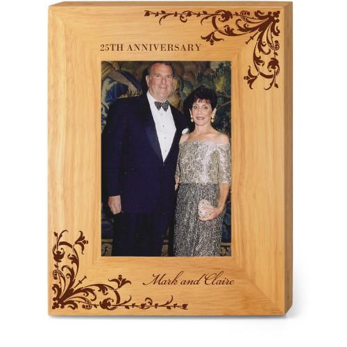 Flourish Marks Wood Frame, - No photo insert, 7x9 Engraved Wood Frame, White