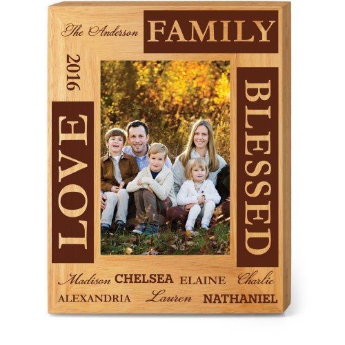 Blessed Family Wood Frame, - No photo insert, 7x9 Engraved Wood Frame, White