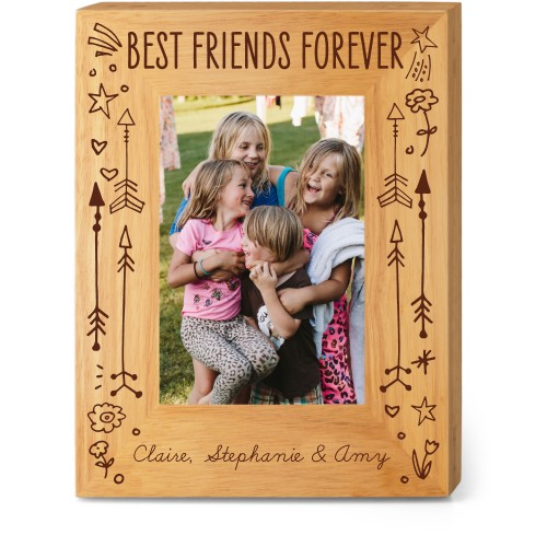 Friends Forever Wood Frame, - Photo insert, 7x9 Engraved Wood Frame, White