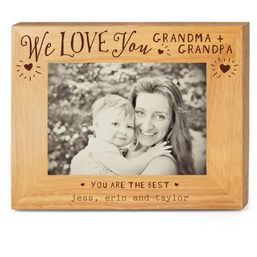 Hearts Full Grandparents Wood Frame, - No photo insert, 10x8 Engraved Wood Frame, White