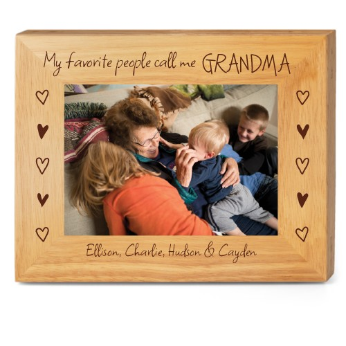 My Favorite People Wood Frame, - Photo insert, 10x8 Engraved Wood Frame, White