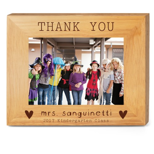 Thank You Heart Wood Frame, - No photo insert, 10x8 Engraved Wood Frame, White
