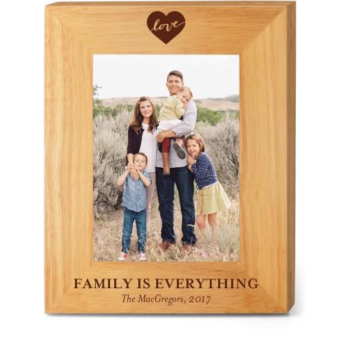 Love Script Wood Frame, - No photo insert, 8x10 Engraved Wood Frame, White