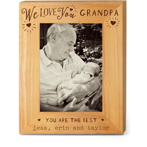 Hearts Full Grandpa Wood Frame, - No photo insert, 8x10 Engraved Wood Frame, White