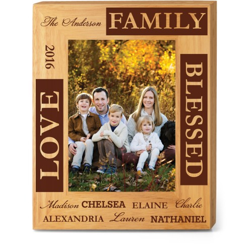 Blessed Family Wood Frame, - Photo insert, 8x10 Engraved Wood Frame, White