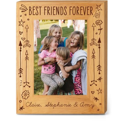 Friends Forever Wood Frame, - Photo insert, 8x10 Engraved Wood Frame, White