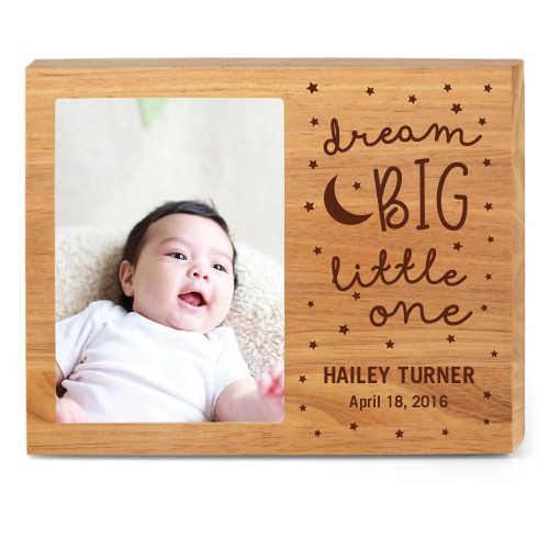 Dream Big Wood Frame, - Photo insert, 10x8 Engraved Wood Frame, White