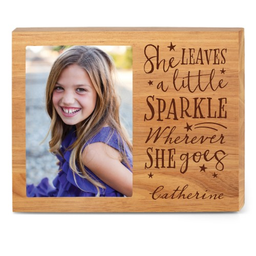 She Sparkles Wood Frame, - No photo insert, 10x8 Engraved Wood Frame, White
